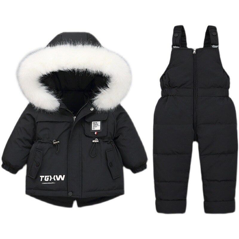 Детский пуховик, костюм для детей 1-3 лет, для девочек и мальчиков, утепленная модная зимняя куртка + открытые пуховые брюки
