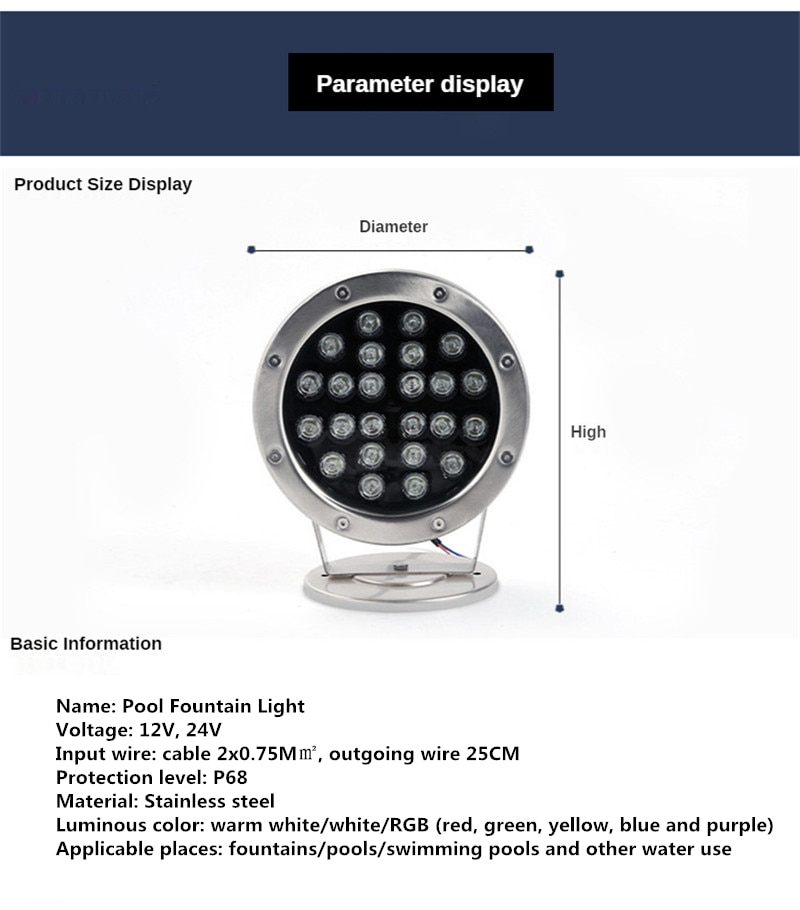 IP68 Waterproof Pool Pond Fountain Light LED Rgb Colorful Garden Outdoor Pond Light 24W 36w 12v 24v Lamps Zwembad Verlichting enlarge