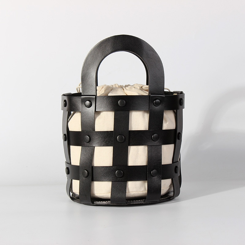 First Layer Cowhide Female Bags For Women Hollow Out  Handbags Shoulder Bags Ladies Tote Bag Female  Handbag Top-handle Bags