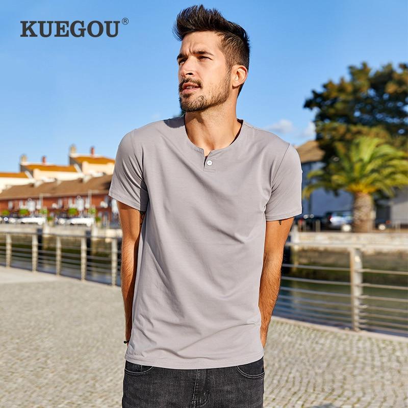 KUEGOU brand Men's short sleeve T-shirt  Summer  Pure color round collar  cotton render unlined upper  simple t shirt MT-15114