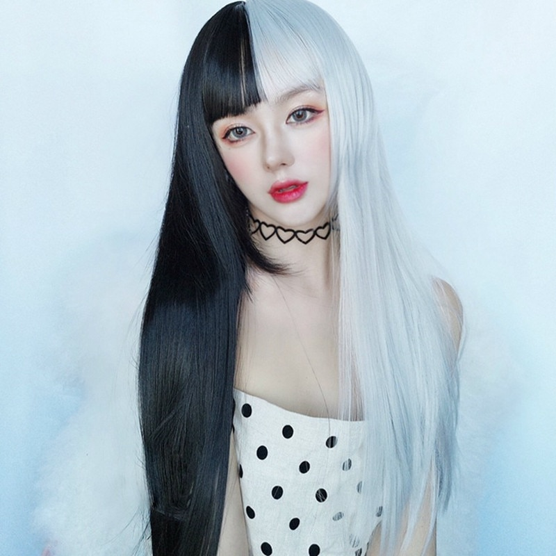 Halloween Cosplay Party Wig Hairpiece Double Colours 70cm Long Straight Hair Cap With Short Bangs Dress Up For Lady Girl
