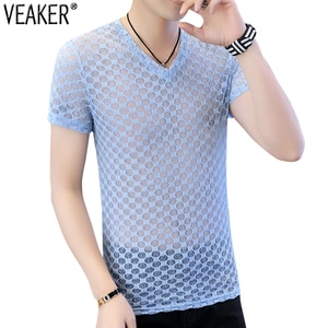 2020 Summer New Men's Sexy V Neck Mesh Hollow Out T-shirts Transparent Short Sleeve T Shirt Casual Fitness Party Tops M-3XL