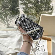 Women Bright Diamond Barrel-shaped Shoulder Bags Ladies New Trendy Fashion Bucket Pearl Diagonal Mes