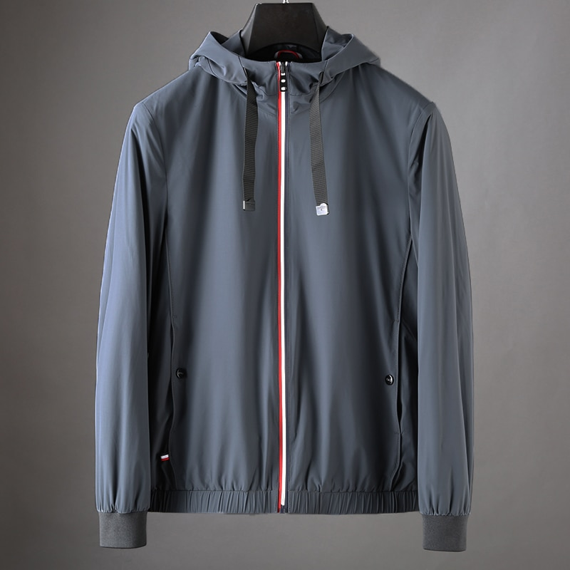 Chaqueta bomber de otoño para hombre, chaqueta negra lisa de talla 3XL, chaqueta con capucha y cremallera para hombre