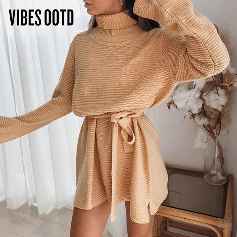 Vibesootd 2020 outono outono malha blusas vestido gola alta manga longa split mini vestido clube vestidos de festa túnica de grandes dimensões