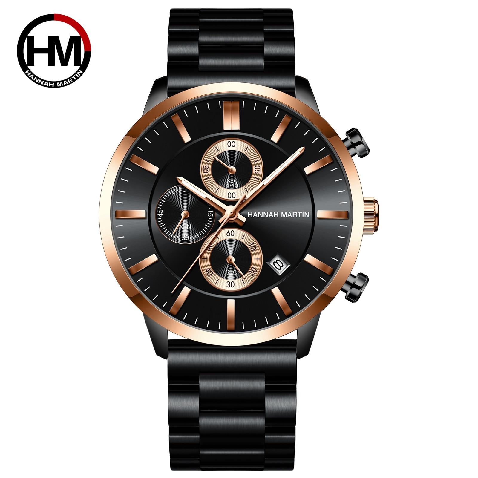 Hannah Martin Business Men\'s Watch Multi-Function Calendar Japan Quartz Movement Waterproof Watch Fashion Metal Band Wristwatch