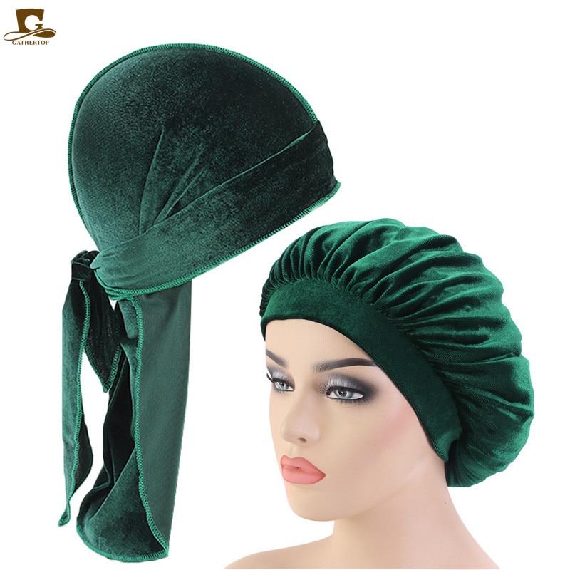 Velvet Durag And Bonnet 2pcs Set Women Sleep Cap and Men Doo Rag Bonnet Cap Comfortable velvet Sleeping Hat