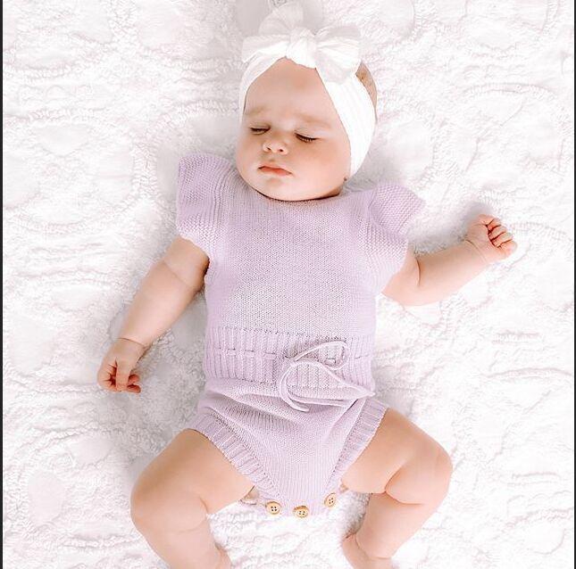 Для новорожденных; Для малышей; Детский комбинезон одежда для мальчиков и девочек, Вязаный комбинезон одежда из хлопка с коротким рукавом д...