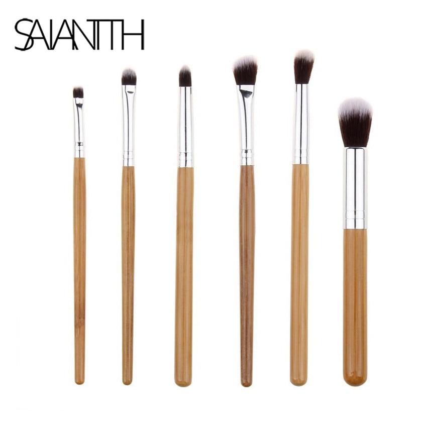 SAIANTTH-Juego de pinceles de bambú para maquillajes, juego profesional de 6 uds. De sombra de ojos, delineador de ojos, maquillaje de ojos