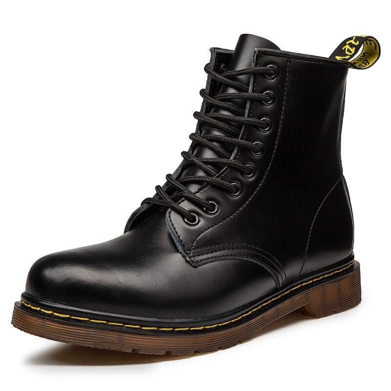 جديد Coturno الرجال أحذية من الجلد عالية قمة الموضة شتاء دافئ أحذية ثلج الدكتور دراجة نارية حذاء من الجلد زوجين للجنسين الأحذية