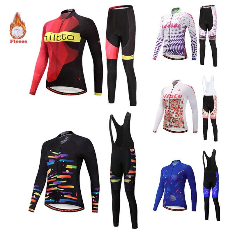 Miloto conjunto de camisa de ciclismo das mulheres de manga comprida inverno wear senhoras lã quente colete terno moda casual uniforme estrada mtb bicicleta