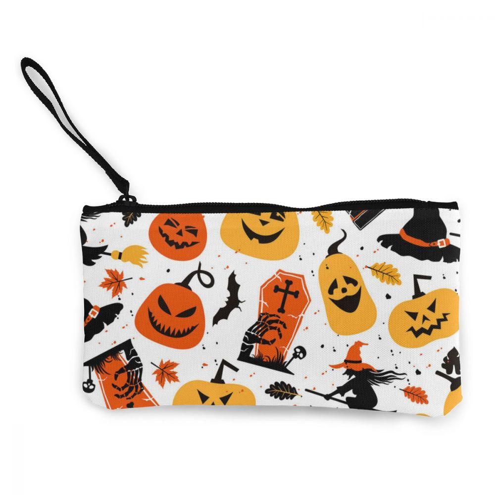 NOISYDESIGNS Halloween tema Fiesta impresión lienzo monedero tarjeta monedero bolsa de lona bolso de mano Clutch calabazas diseños cartera
