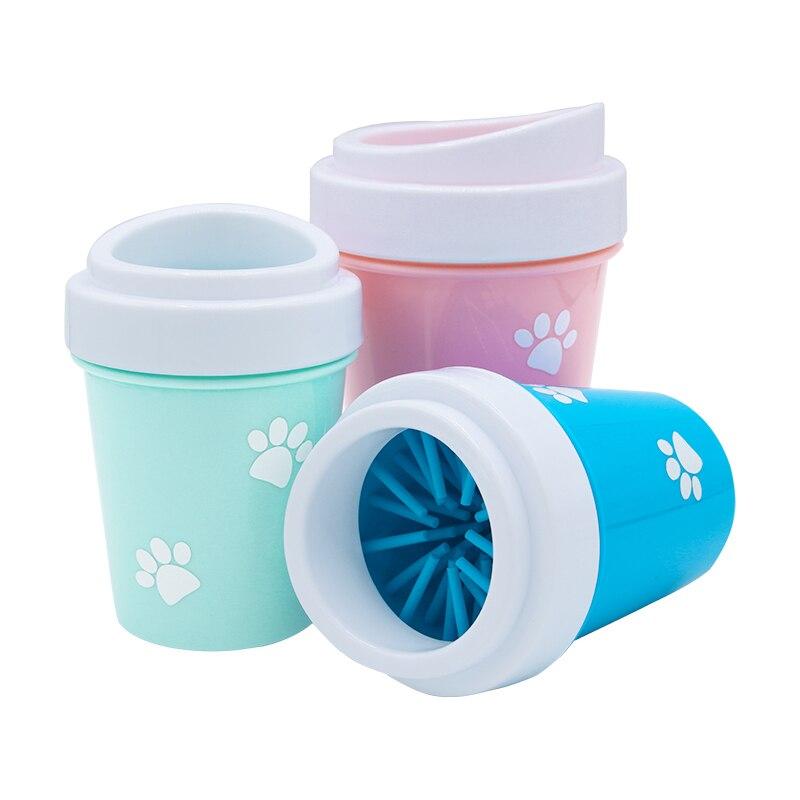 Taza de limpieza para pies de perro mascota, cepillo de pata, herramienta de limpieza, peines de silicona suave, lavador portátil para pies de Mascota, taza para limpieza de pata
