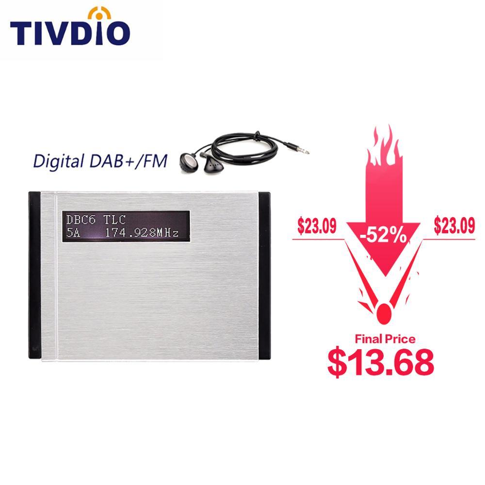 Tivdio T-101 dab fm receptor de bolso rádio estéreo mini portátil relógio digital dab + rds receptor rádio music player fone ouvido f9204