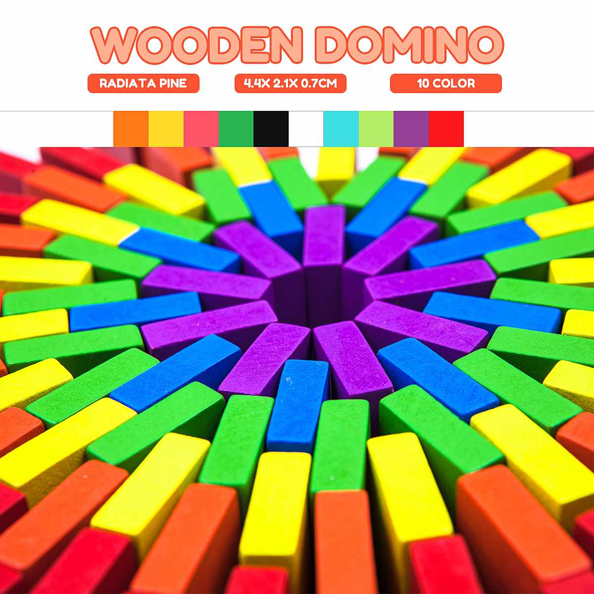 240pcs/set 10 colors Authentic Standard Wooden Children Kids Domino Games Toys Building Blocks For Kids Toy