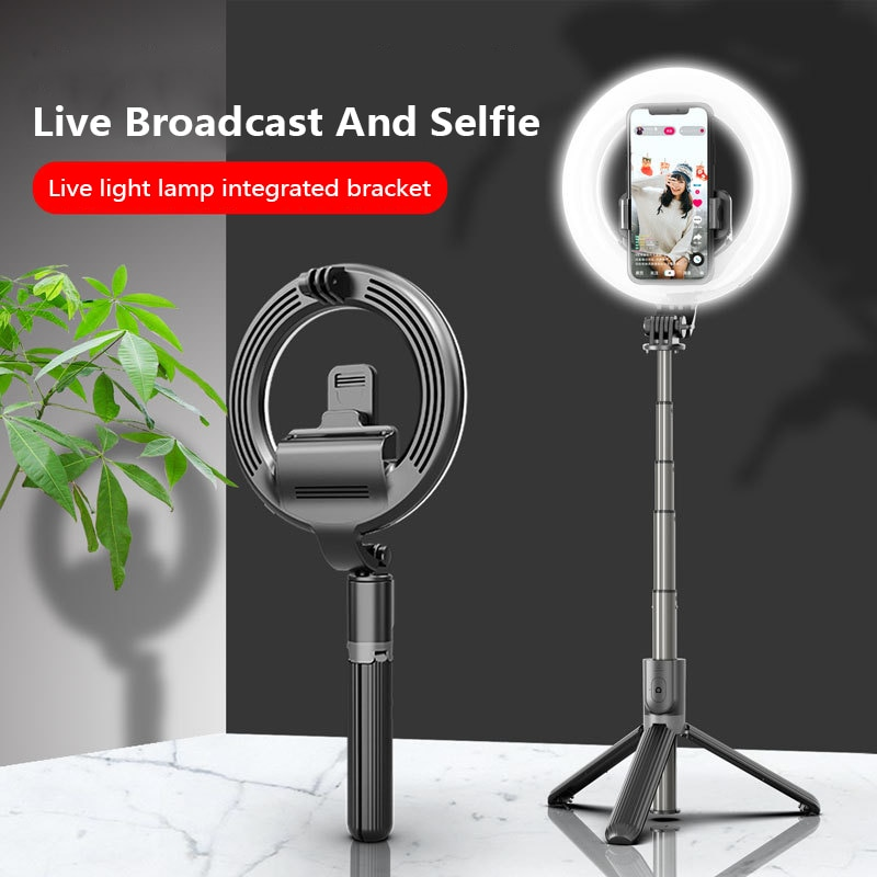4 in 1 selfie ring light wireless Bluetooth Selfie stick mini tripod Handheld Extendable 3 Levels light selfie stick With Remote