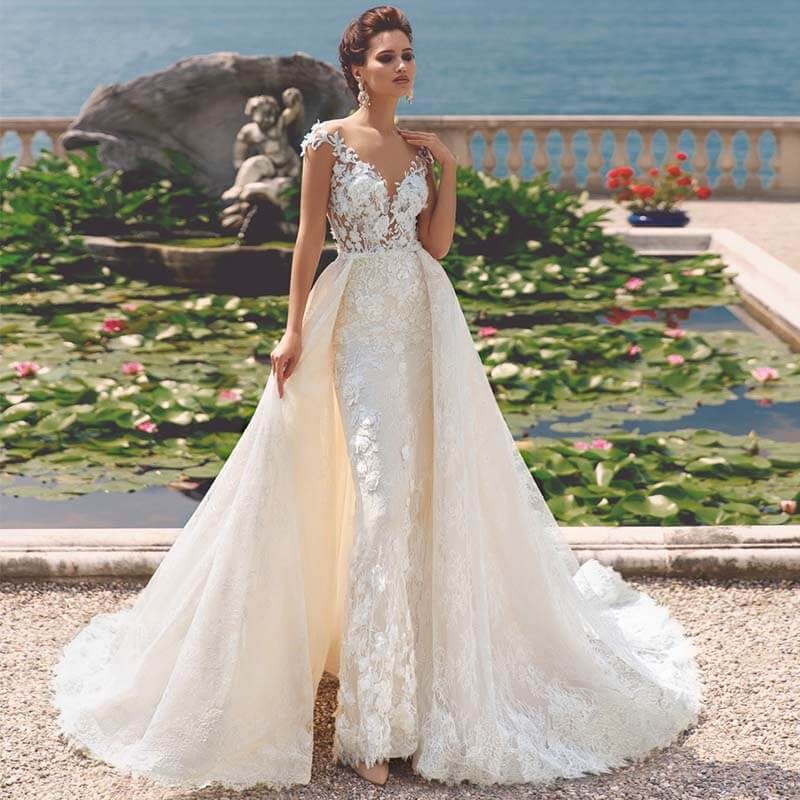 فستان زفاف حورية البحر من الدانتيل ، مع ذيل قابل للفصل ، أنيق ، ياقة دائرية ، زينة عتيقة
