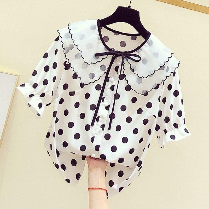 2020 printemps et été nouveau Style coréen poupée col à lacets noeud à pois chemise femmes décontracté hauts et chemisiers Blusas étudiants