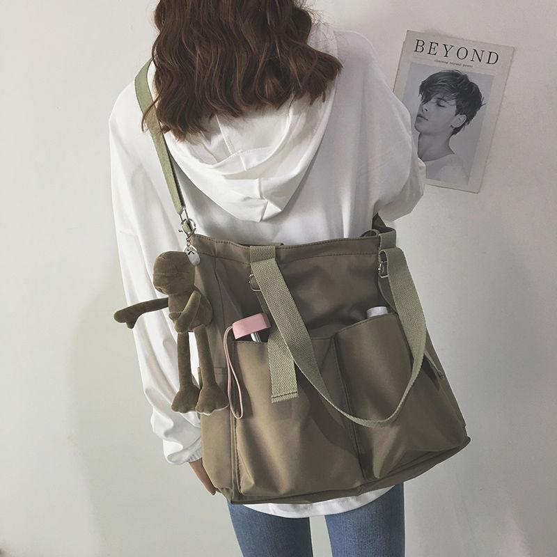 Waterproof Oxford Large Capacity Canvas Girl Shoulder Hand Bucket Bag Basket Female Crossbody Bags For Women Casual Tote Purses