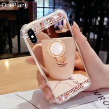 Strass miroir étui de téléphone de cristal pour Samsung Galaxy S8 S9 S10 Plus Note9 8 10 Por luxe 3D perle anneau support diamant couverture