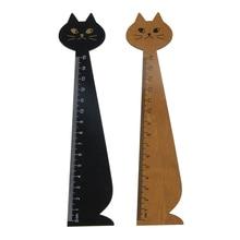 1 Pc 15cm Kawaii chat style règle mignon bois Animal droit règle cadeau pour enfants fournitures scolaires papeterie noir jaune