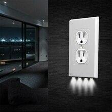 1Pcs Durable Convenient Outlet Cover Duplex Wall Plate Led Night Light Cover Ambient Light Sensor Ha