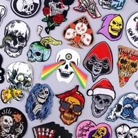 punk skull iron on patches on clothes stripe badge thermoadhesive patch for clothes grim reaper embroidery patches for clothing