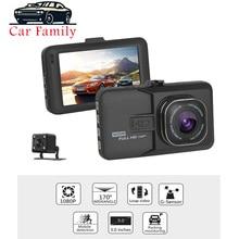 Full HD 1080P Car DVR 3,0 pulgadas IPS pantalla cámara de coche lente Dual cámara de salpicadero Video grabadora visión nocturna g-sensor registrador