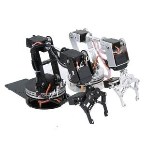 Arduino Robot 6 DOF Aluminium Clamp Claw Mount Mechanical Robotic Arm Servos Metal Servo Horn with Rotate Flange Base 20% OFF