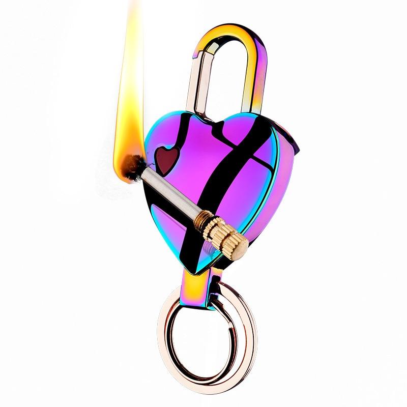 Permanent Reusable Match Lighter Love Heart Keychain Windproof Flint Fire Starter For Survival Creative Lighter Gadgets For Man enlarge