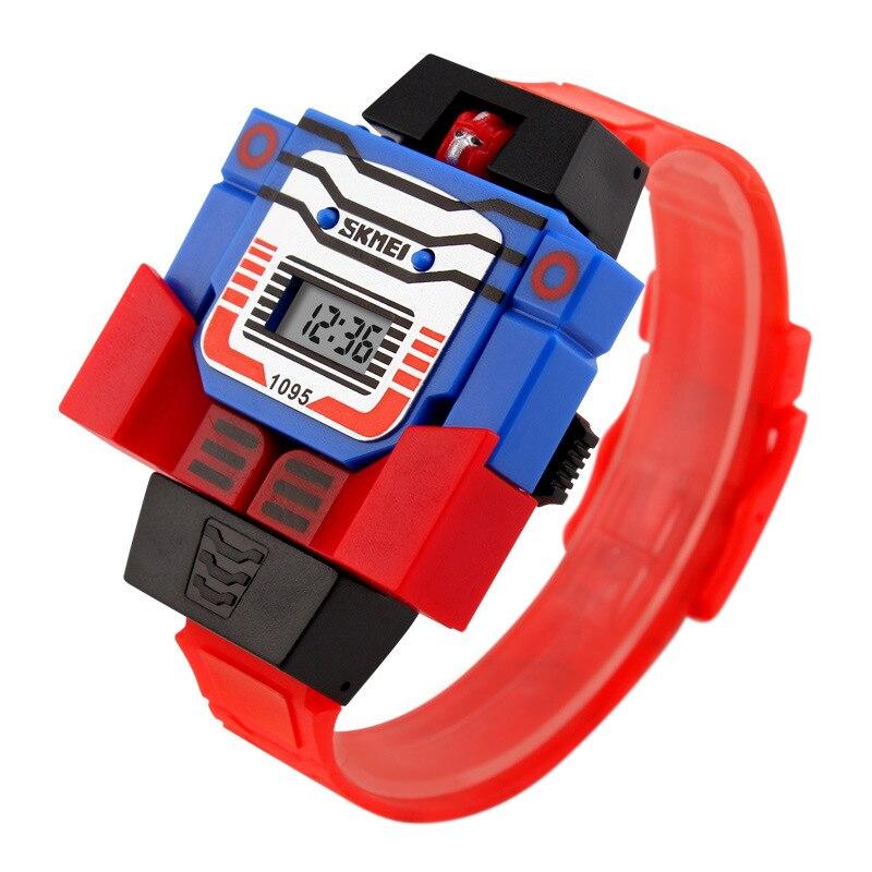 SKMEI 1095 LED Digital Children Watch Cartoon Sports Watches Relogio Robot Transformation Toys Boys