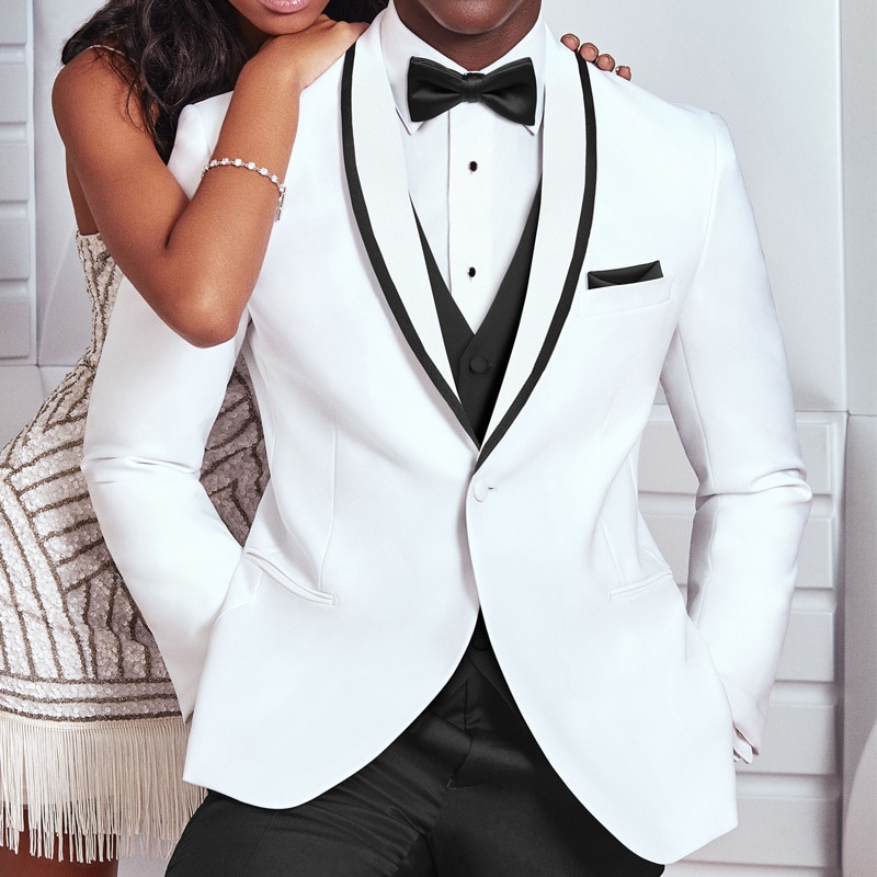 White and Black Wedding Tuxedo for Groom 3 Piece Slim Fit Men Suits Man Fashion Costume Jacket with Pants Vest New Arrival