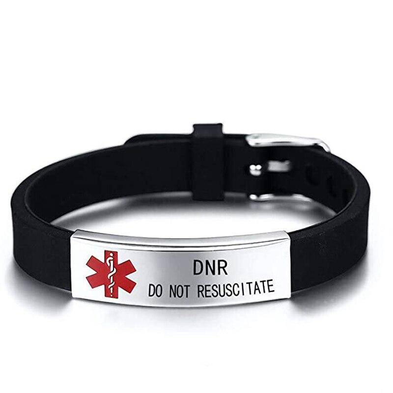 Personalisierte DIY männer Armband Medical Alert ID Armreifen ICE Einstellbare Länge Handgelenk für Männer Frau Kind Angepasst Schmuck
