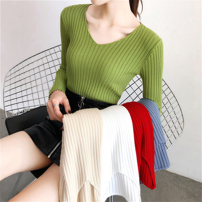 2020 Fall New South Korean version of the jacket with long-sleeved sweater ladies loose weight v-neck