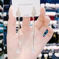 korean fashion bi wing double flying long tassel opal earrings for women summer new trendy inlaid zircon temperament earrings