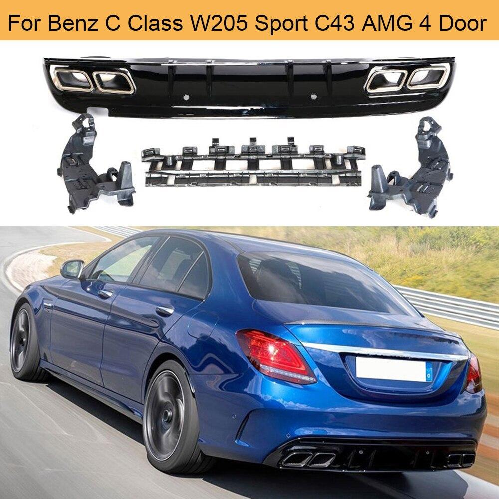 Labio del difusor del parachoques trasero del coche con el escape para Mercedes Benz c-class W205 C200 C250 C300 C350 C400 C43 AMG Sport 4-Door 2014UP