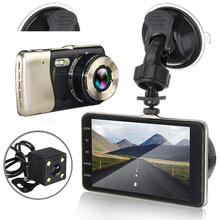 4 Inch Dash Cam Dual Objektiv Auto DVR Fahrzeug Kamera Volle HD 1080P Dash Cam Nachtsicht Video Recorder g-sensor Parkplatz Monitor