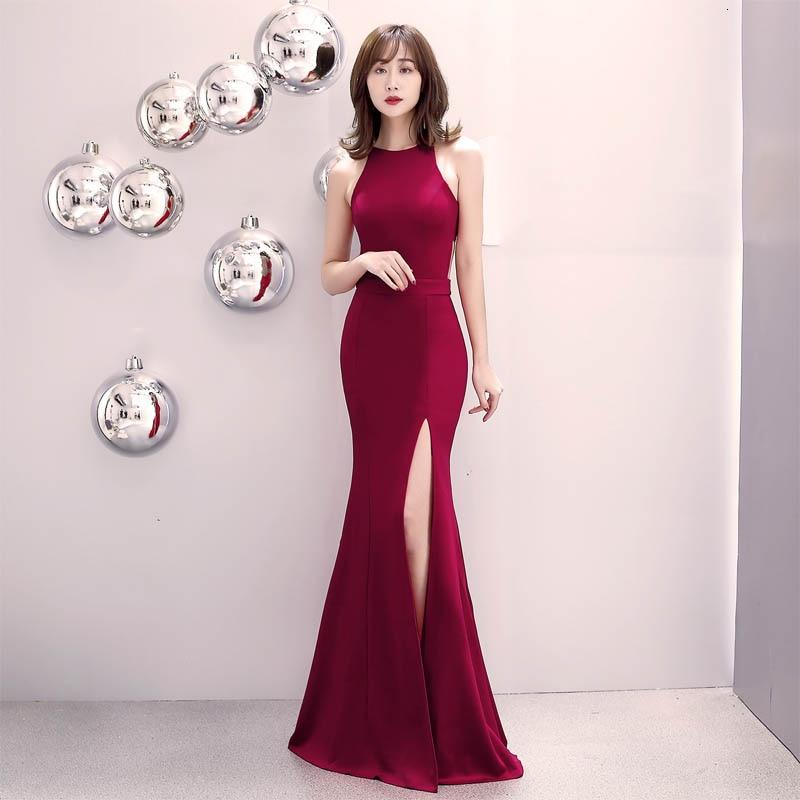 Vestido de noche vino rojo borgoña hombros largos niñas boda sirena estiramiento abertura lateral vestido de graduación Dubai cremallera vestidos de fiesta Bata
