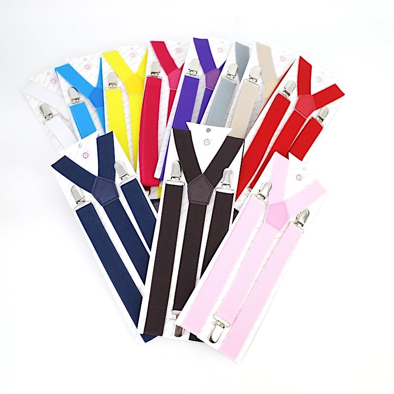 2.5CM Three Good Quality Clips Unisex Knit Elastic Adjustable  Casual Youth Suspender Women Men