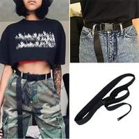 new femme harajuku solid color long belts black canvas belt for women casual female waist belts with plastic buckle ceinture