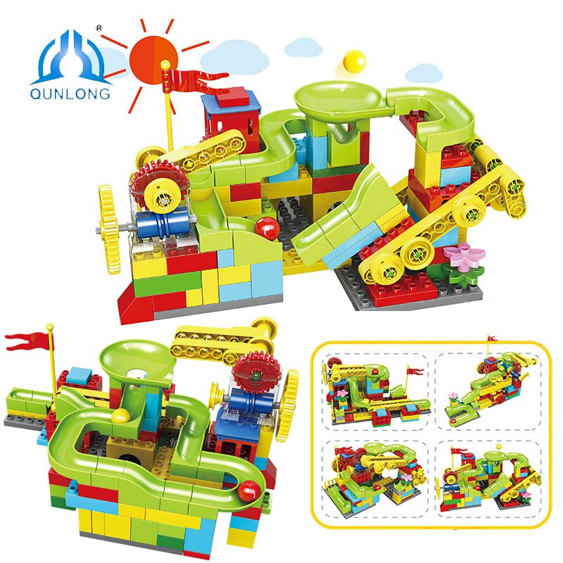 QUNLONG Duploe Set Marble Run Race Slide Big Block Funnel Gear Slide Run Ball Building Blocks Duploe Base Plate Toy For Children