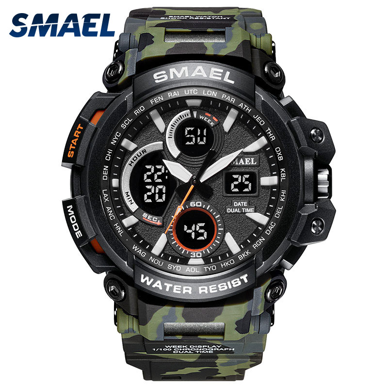 SMAEL Sport Watches Waterproof Men Watch LED Digital Watch Military Male Clock Relogio Masculino erk