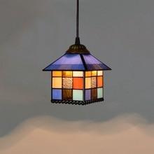 20cm American Retro Creative Tiffany Colored Glass Small House Decoration Bar Chandelier European-Style Glass Lamp