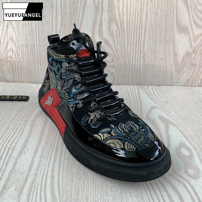 حذاء هيب هوب أسود للرجال ، حذاء رياضي برباط علوي ، طباعة غير رسمية ، موضة شتوية بمقدمة مستديرة ، حذاء مسطح للخارج