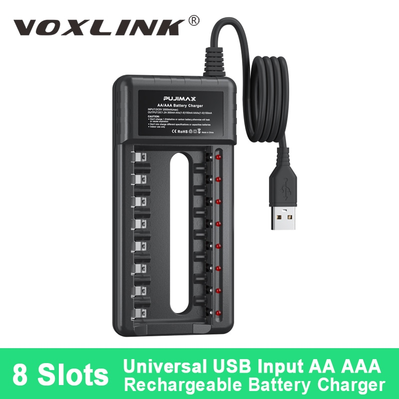 VOXLINK Professional Battery Charger USB 8 Solts Independent Charging Station For 1.2V AA/AAA Ni-MH/