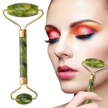 Jade Stone Facial Massage Roller For Face Women Neck Natural Massager Gua sha Scraper Set Thin Lift