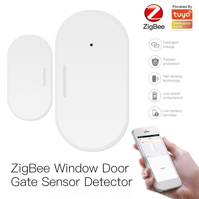 Датчик двери Tuya Smart Zigbee 3,0, детекторы открытия/закрытия дверей, Wi-Fi, домашняя сигнализация, совместима с приложением Alexa Google Home Smart Life смарт детекторы открытия закрытия дверей с приложением smart life и поддержкой wi fi