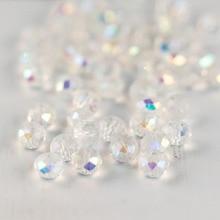 MH perle de verre coloré Transparent perles de verre blanc 3*4mm 4*6mm 6*8mm section transversale perles de cristal pour la fabrication de bijoux bricolage