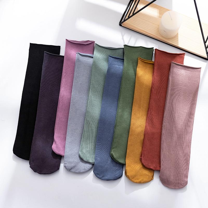Calcetines de tubo de algodón para mujer, calcetín a rayas de Color liso, de secado rápido, para primavera y verano, 3 pares