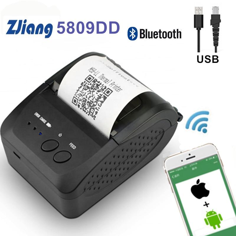 Impresora portátil térmica de bolsillo Bluetooth de 58mm, impresora térmica de recibos para teléfonos Android iOS, impresora de facturas de Windows